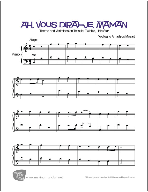 Piano jazz piano sheet music for beginners : Ah, vous dirai-je, Maman (Mozart) | Easy Piano Sheet Music