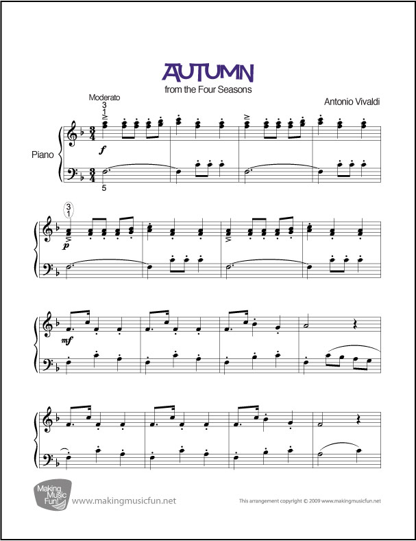 autumn allegro from four seasons vivaldi easy piano sheet music. Black Bedroom Furniture Sets. Home Design Ideas