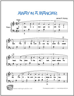 picture relating to Lyrics to Away in a Manger Printable named Absent in just a Manger Free of charge Straightforward Piano Sheet Audio