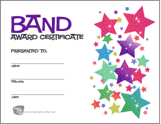 Free music award certificates band orchestra and choir band award certificate stars yadclub Image collections