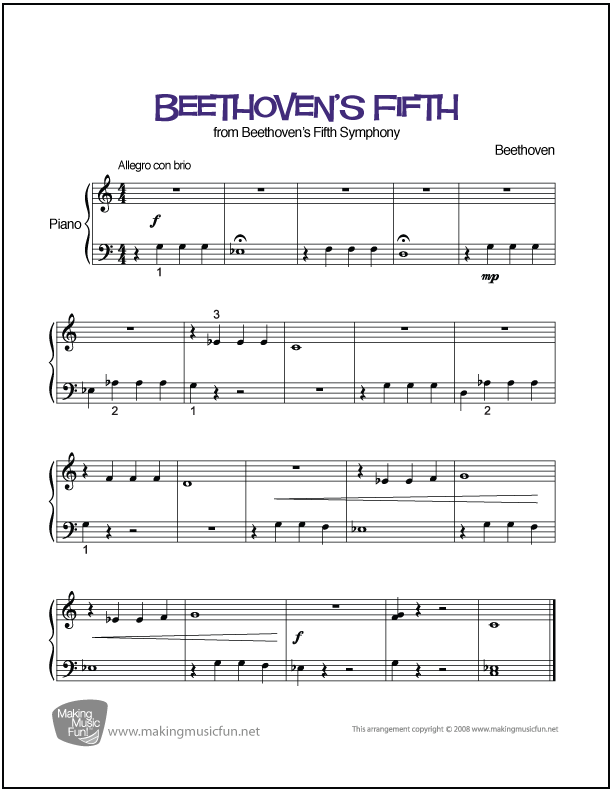 Piano beginning piano sheet music : Beethoven's Fifth (Symphony No. 5 in C Minor) | Easy Piano Sheet ...