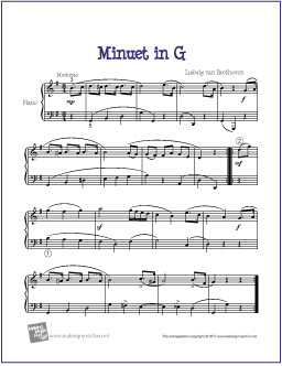 Minuet in G (Beethoven) | Free Easy Piano Sheet Music