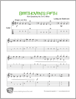 Beethoven's Fifth (Symphony No  5) | Easy Guitar Sheet Music