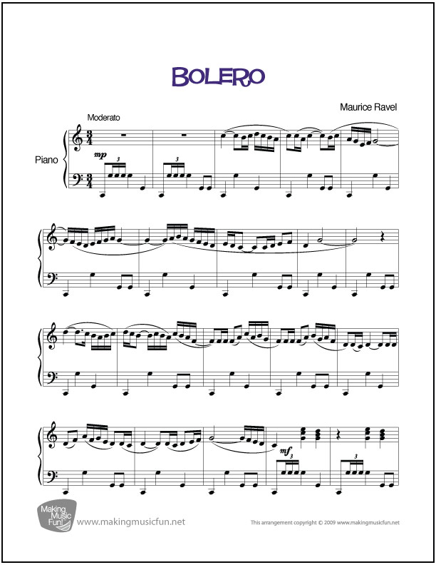 Bolero Ravel Easy Piano Sheet Music Digital Print
