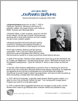 a biography of johannes brahms a composer Explore composer johannes brahms on 2538 classical music works cds to buy at cd universe, including sound samples, songs, biographies, reviews, and more.