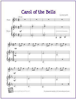 photograph about Free Printable Flute Sheet Music known as Carol of the Bells No cost Straightforward Flute Sheet New music