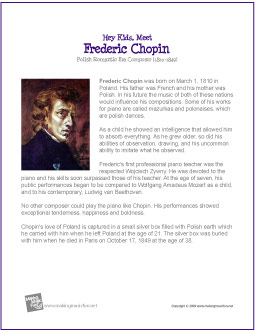 a biography of the life and musical career of frederic chopin Chopin was unique among composers of the highest achievement and influence in that he wrote all his works, with the merest handful of exceptions, for the solo piano leaving warsaw, which at the time offered only restricted musical possibilities, and living most of his adult life in paris, he acquired a.