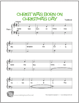 Christ Was Born On Christmas Day | Free Easy Piano Sheet Music