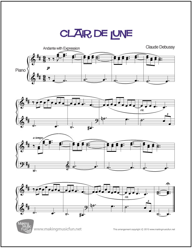 Clair De Lune Debussy Easy Piano Sheet Music Makingmusicfun