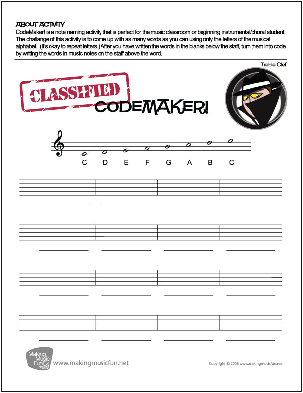 Worksheets Treble Clef Notes Worksheet music theory worksheets flash cards and games for kids codemaker challenge by asking them to turn words into secret code notes note name worksheet treble clef