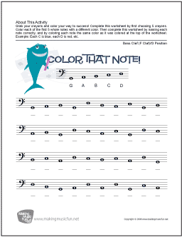 Color That Note Free Note Name Worksheet Bass Clef G