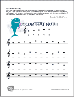 Color That Note – Note Names Worksheet
