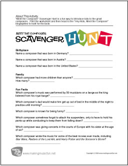 meet the composer scavenger hunt free composer worksheet digital print. Black Bedroom Furniture Sets. Home Design Ideas
