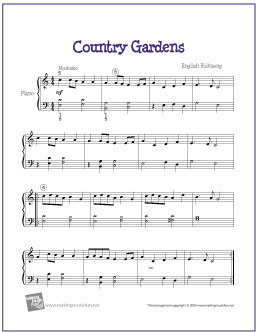 Country Gardens English Folk Song Free Easy Piano Sheet Music