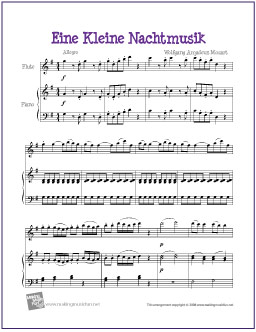 photo relating to Free Printable Flute Sheet Music called Eine Kleine Nachtmusik (Mozart) Absolutely free Very simple Flute Sheet Audio