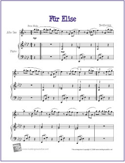graphic about Free Printable Alto Saxophone Sheet Music named Für Elise (Beethoven) No cost Basic Alto Saxophone Sheet Songs