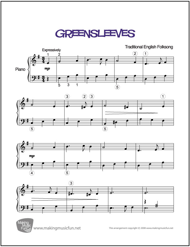 Greensleeves | Piano Sheet Music (Digital Print)