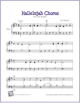 picture regarding Hallelujah Piano Sheet Music Free Printable named Hallelujah Refrain (Handel) Totally free Very simple Piano Sheet Audio