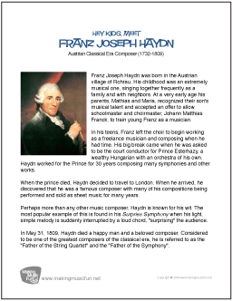 an introduction to the life of franz joseph haydn Joseph haydn was born in rohrau, austria, a an introduction to the life of joseph haydn village that at that time stood on the border with hungary haydn: croatian classical music, 10th-19th centuries darko zubrinic, zagreb (1995) an age is known by its music croatian proverb (see ) the first known croatian neum.