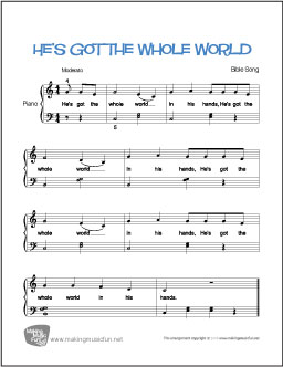 easy piano sheet music with letters he s got the whole world free easy piano sheet 21434