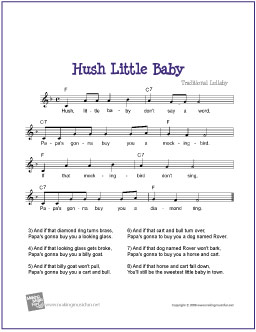 Hush Little Baby Free Sheet Music Guitar Piano Lead Digital Print