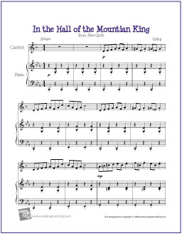 In The Hall Of Mountain King From R Gynt Grieg Free Easy Clarinet Sheet Music Digital Print
