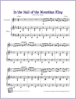 In The Hall Of The Mountain King Grieg Free Easy Trumpet Sheet Music