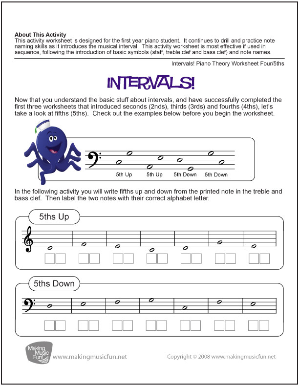 Intervals Fifth Free Music Theory Worksheet