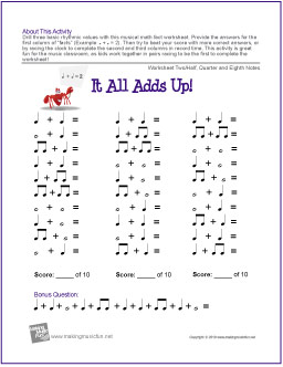 it all adds up free music rhythm worksheet ii. Black Bedroom Furniture Sets. Home Design Ideas