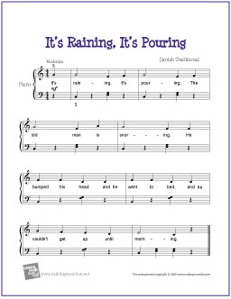 It S Raining Pouring Free Easy Piano Sheet Music Digital Print