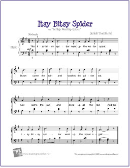 Itsy Bitsy Spider Free Easy Piano Sheet Music