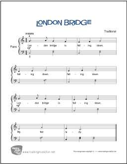 London Bridge Is Falling Down Free Beginner Piano Sheet Music Digital Print