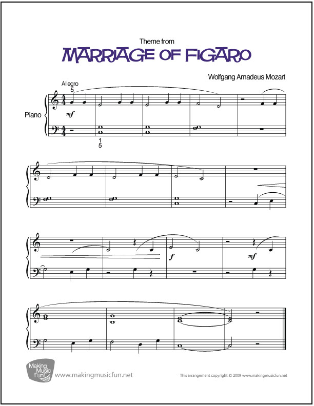Piano beginning piano sheet music : Marriage of Figaro (Mozart) | Beginner Piano Sheet Music
