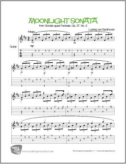 Moonlight Sonata, Op.27 (Beethoven) | Easy Guitar Sheet Music (TAB)