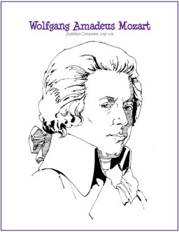 wolfgang amadeus mozart free composer coloring page digital print