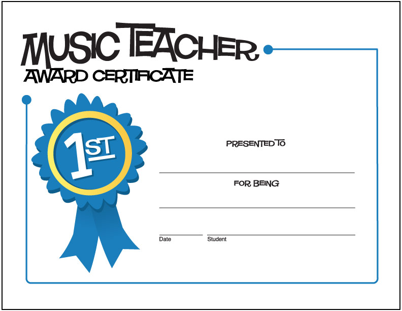 Free Printable General Music Award Certificates  MakingmusicfunNet
