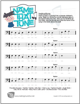 Name That Tune | Music Theory Worksheet - Bass Clef Note Names