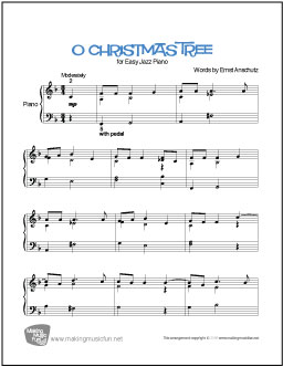 o christmas tree free easy jazz piano sheet music digital print - Free Christmas Piano Sheet Music
