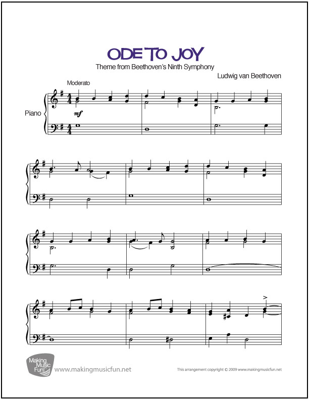 Ode to Joy (Beethoven) | Sheet Music for Intermediate Piano