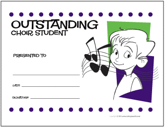 Outstanding Choir Student Award Certificate (Boy)