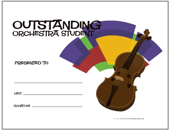 Outstanding Orchestra Student Award Certificate (Violin)