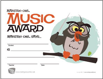 Free Music Award Certificates | MakingMusicFun net