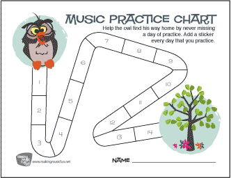 Owl Music Practice Chart - Help the owl find his way home by never missing 						a day of practice. (14 Days)