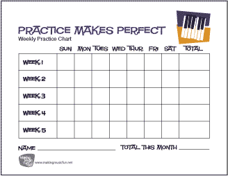 Practice Makes Perfect Music Practice Chart | Piano - Record Daily Practice Time (5 Weeks)