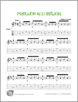 Prelude in D Major (Carcassi) | Easy Guitar Sheet Music