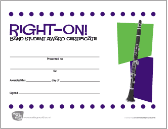 Right On! Band Student Award Certificate (Clarinet)