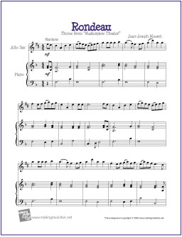 photograph regarding Free Printable Alto Saxophone Sheet Music known as Rondeau (Mouret) No cost Basic Alto Saxophone Sheet Tunes