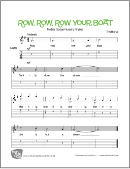 Row Row Row Your Boat Free Beginner Guitar Sheet Music Tab