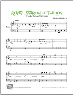 Royal March of the Lion (Saint-Saëns) | Easy Piano Sheet Music