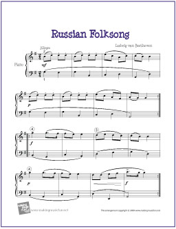 Russian Folk Song (Beethoven) | Free Easy Piano Sheet Music